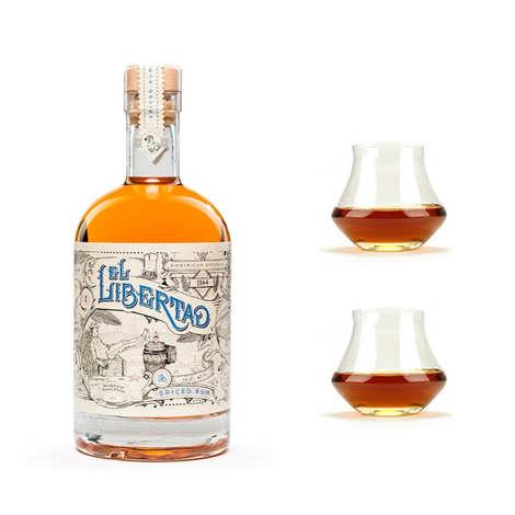 El Libertad - Rhum El Libertad - Original Spiced Rum 40% and 2 glasses