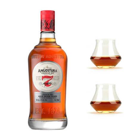 Angostura - Angostura 7 ans - Rhum de Trinidad & Tobago 40% et ses 2 verres