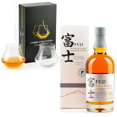 Kirin Brewery - Kirin Fuji Sanroku - japanese whisky 50% and 2 glasses