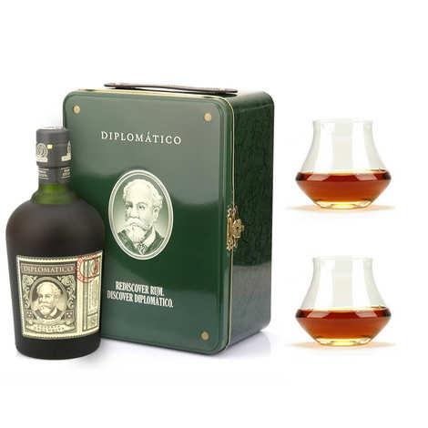 Destilerias Unidas - Coffret cadeau Rhum Diplomatico valise diplomatique et ses 2 verres