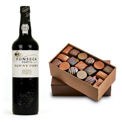 - Assortiment ballotin de chocolat et Porto Tawny - Fonseca
