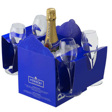 Royal Pommery Brut Champagne Box and 4 flutes
