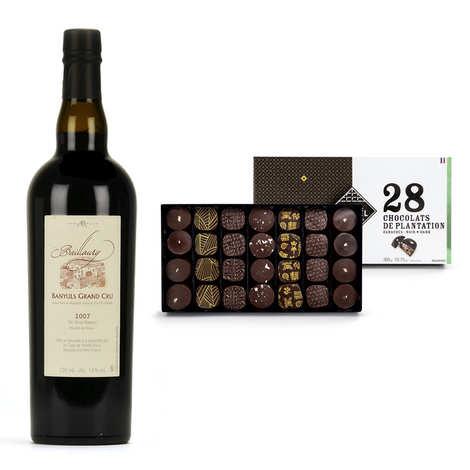 - Assortiment coffret de chocolats et vin Banyuls Grand Cru