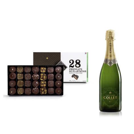 - Assortiment de chocolats Michel Cluizel et Champagne Collet demi-bouteille