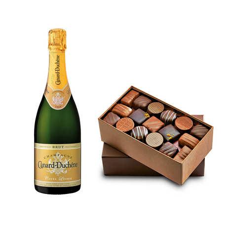 - Assortiment de chocolats et Champagne Canard Duchêne en demi-bouteille