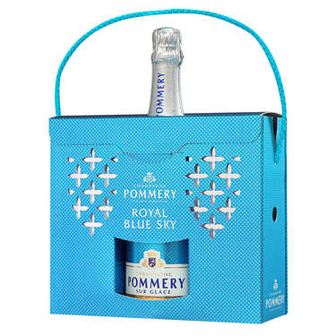 Blue Sky Champagne Pommery Gift Case With 2 Glasses