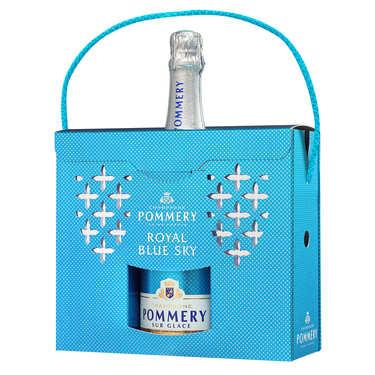 Coffret cadeau Champagne Blue Sky Pommery avec 2 flûtes polypro