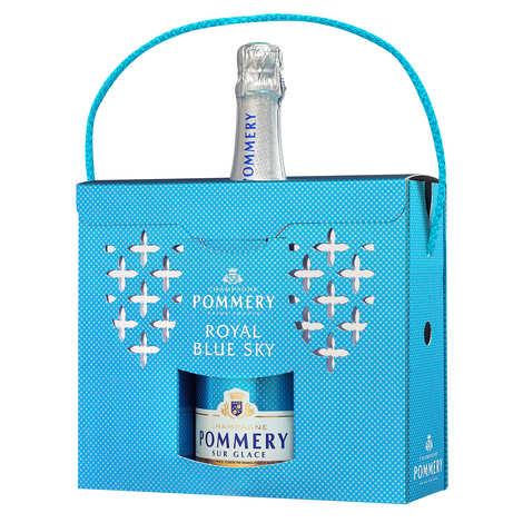 Pommery - Coffret cadeau Champagne Blue Sky Pommery avec 2 flûtes polypro