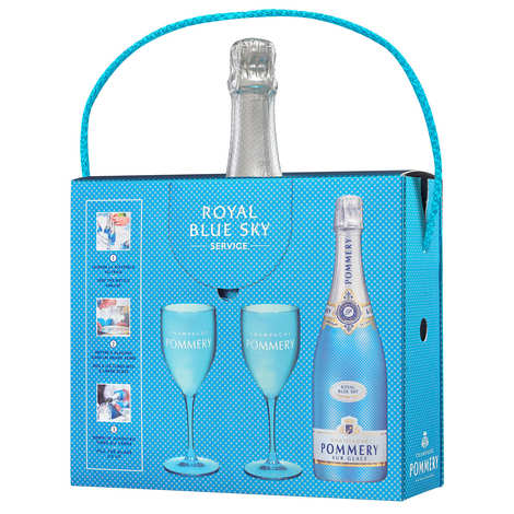 Pommery - Blue Sky Champagne Pommery Gift Case With 2 Glasses