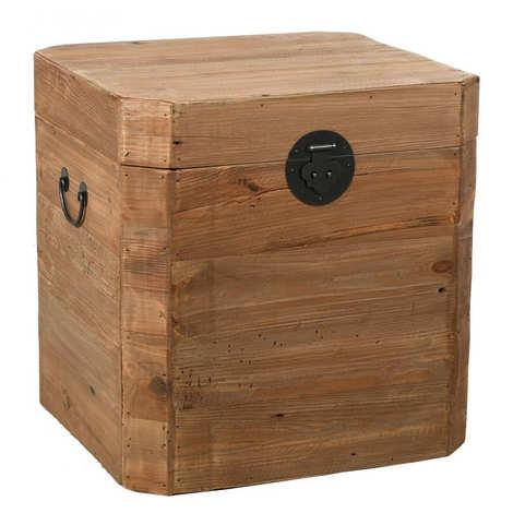 Aubry-Gaspard - Coffre carré en pin recyclé