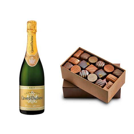 - Ballotin de chocolats et Champagne Canard Duchêne demi-bouteille
