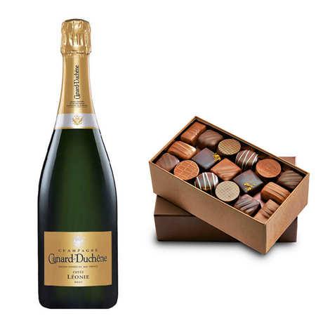 - Ballotin premium de chocolats et Champagne Canard Duchêne
