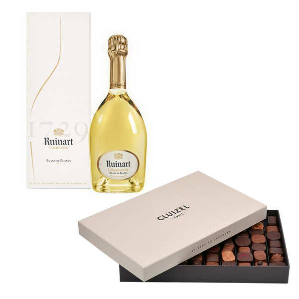 Assortiment prestige ballotin de chocolats Michel Cluizel et Champagne Ruinart