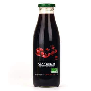 Pure organic cranberry juice bottle