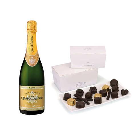 - Ballotin premium de chocolats et Champagne Canard Duchêne demi-bouteille