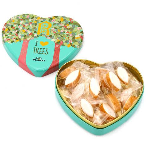 Le Roy René - Boite métal cœur de petits calissons d'Aix I Love Trees