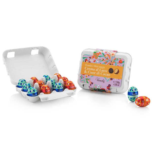Boîte en carton de petits oeufs fourrés de Pâques