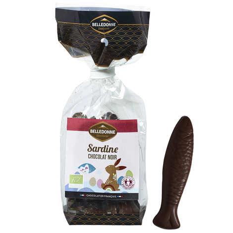 Belledonne Chocolatier - Sachet de sardines en chocolat noir 57% vegan et bio