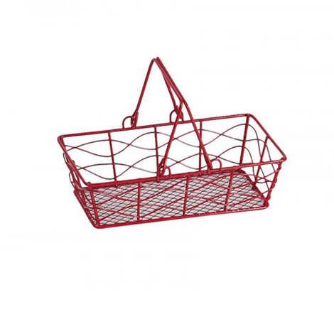 - Rectangular red metal basket