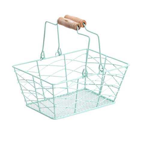 - Rectangular blue metal basket