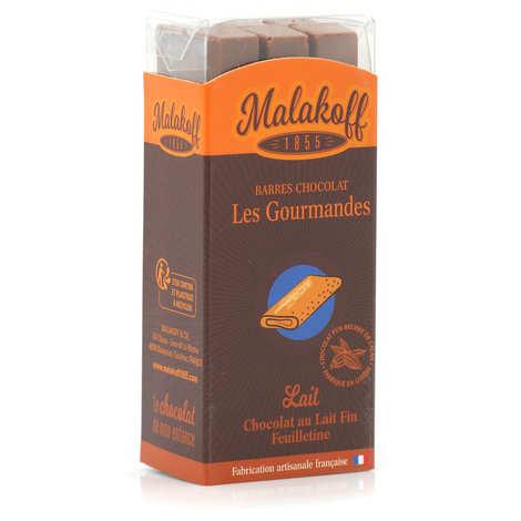 Malakoff & Cie - Barres de chocolat Malakoff 1855 au lait fin et feuilletine sans emballage