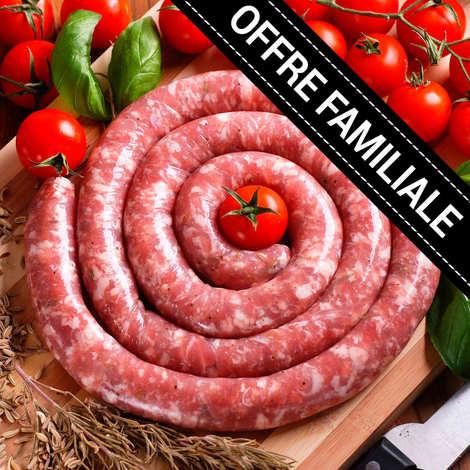 Maison Bousquet - Offre familiale : Saucisse fraîche roulée de Porc Lou Teychou Aveyron