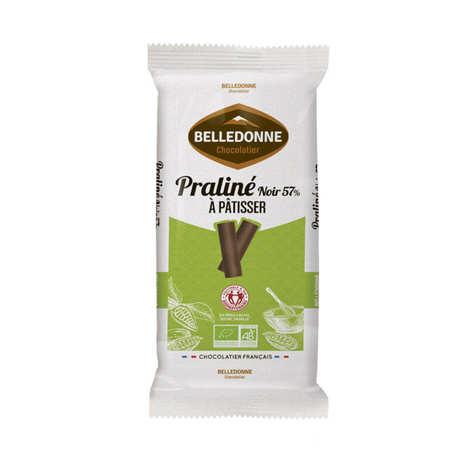 Belledonne Chocolatier - Tablet of organic praline dark chocolate 57%.