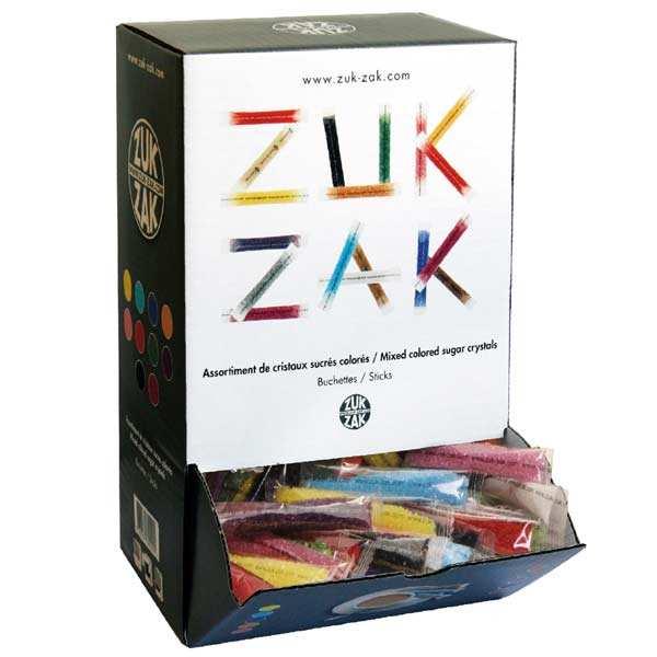 Multi coloured sachets of sugar