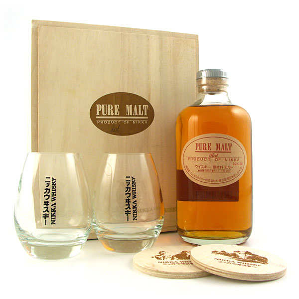 Whisky Nikka pure malt red - coffret - la bouteille de 50cl, 2 verres et 2 sous bock dans un coffret