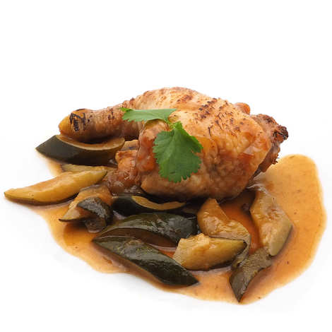 Maison Cabiron - Leg of free-range chicken stuffed with pine nuts and ricotta, Courgettes