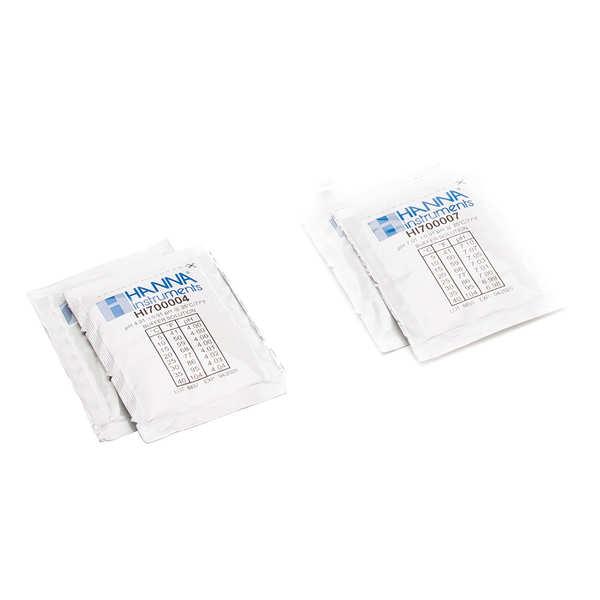 Solutions tampons pour pH-mètre électronique - pH 4 et 7