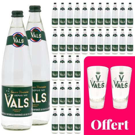 Vals - 36 bottles of natural sparkling mineral water from Ardèche Vals