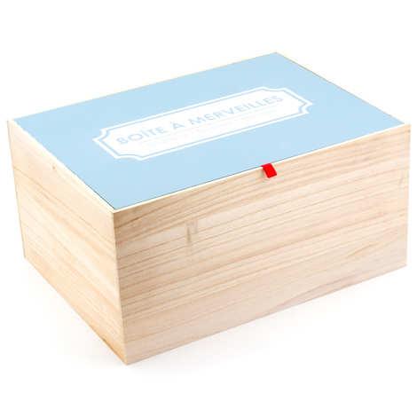 - Grande caisse bois avec couvercle bleu