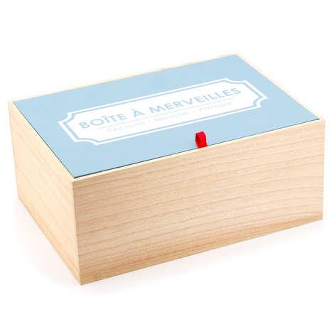 - Caisse bois avec couvercle bleu