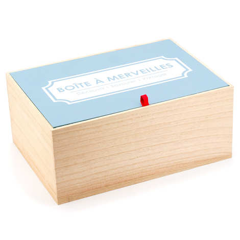 - Wooden box with blue lid