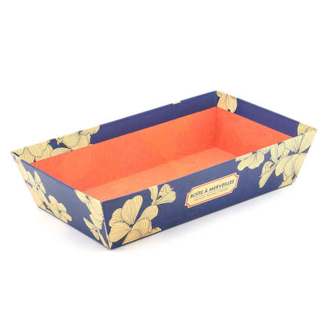 - Blue and orange rectangular tray