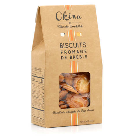 Okina La Biscuiterie Basque - Biscuits salés au fromage pur brebis Ossau Iraty AOP