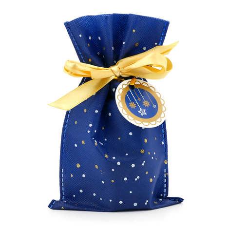 - Blue/gold/white bag with golden satin ribbon