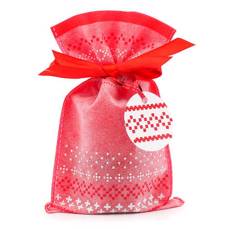 - Red and white bag with red satin ribbon