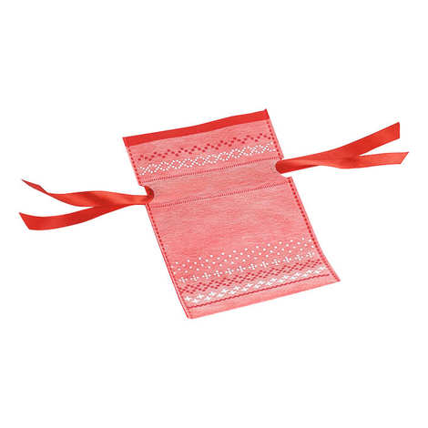 - Sac rouge et blanc avec ruban satin rouge