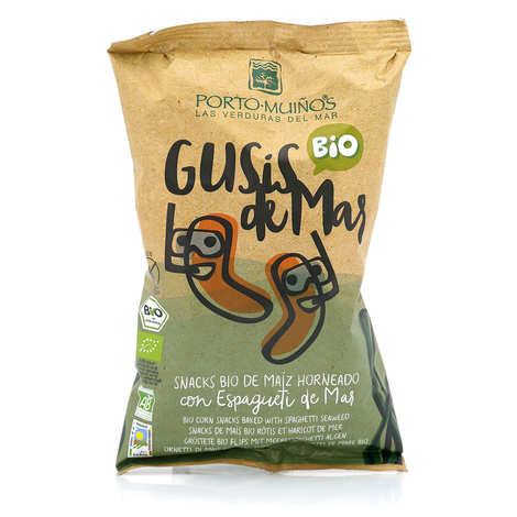Porto Muinos - Organic corn snacks baked with spaghetti seaweed - Gusis de Mar