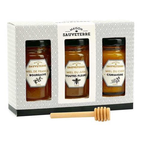 Maison Sauveterre - Coffret cadeau 3 miels et cuillère à miel
