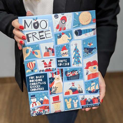 Moo Free - Calendrier de l'avent chocolats blanc vegan sans lactose et sans gluten