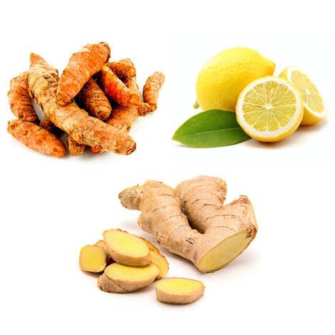 - Assortiment gingembre, curcuma et citron