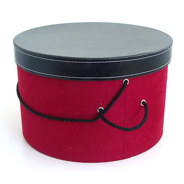 Red Velvet Hat Box With Black Leather Effect Lid