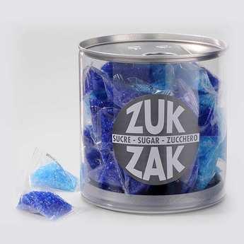 Zuk-Zak - 40 mini-berlingots de sucre coloré - assortiment bleu