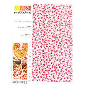 """ScrapCooking ® - Papier décor alimentaire """"coeurs rouges"""""""