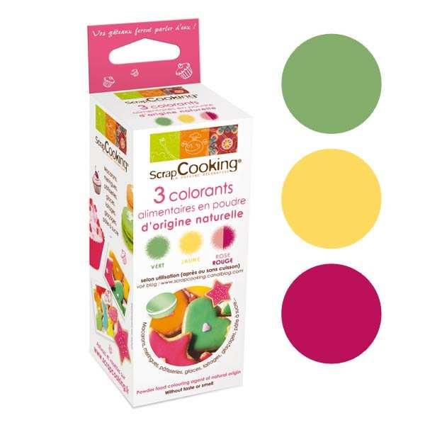 3 colorants alimentaires colorant d 39 origine naturelle en poudre scrapcooking. Black Bedroom Furniture Sets. Home Design Ideas