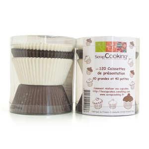 ScrapCooking ® - 120 caissettes blanc/brun pour cupcakes
