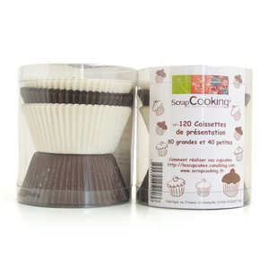 ScrapCooking ® - 120 cupcake cups - natural colours, large and small sizes